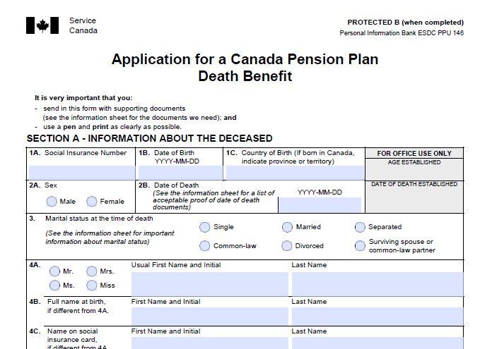 1aCanada Pension Plan Death Benefit, Application Kit