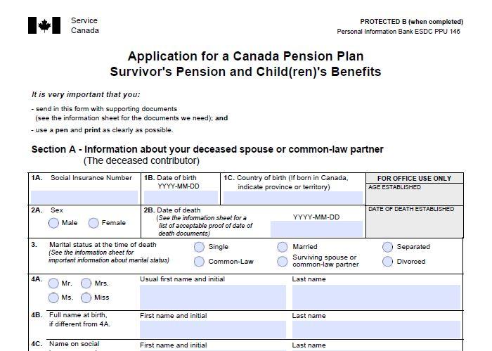 2aCanada Pension Plan Survivor's Pension and Child(ren)'s Benefit(s), Application Kit (ISP1300)