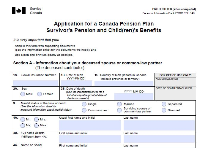 2aCanada Pension Plan Survivor's Pension and Child(ren)'s Benefit(s), Application Kit (ISP1300)